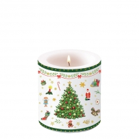 Decorative candle small - Christmas Evergreen White