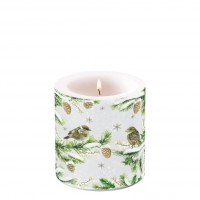 Decorative candle small - Sparrows In Snow