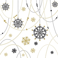 Servietten 33x33 cm - Snow Necklace White