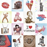 Servietten 33x33 cm - Collage I Love Vintage (Collage Ich Liebe Vintage)