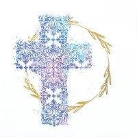Napkins 33x33 cm - Cross blue