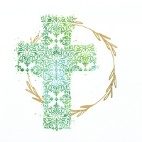 Servietten 33x33 cm - Cross green