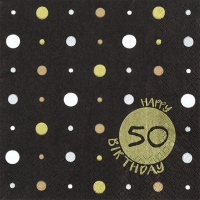 Napkins 33x33 cm - Happy Birthday 50 gold
