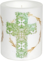 decorative candle - Cross green