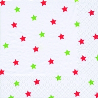 Lunch Servietten Little Stars red/green