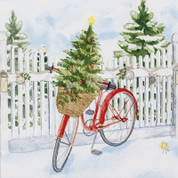 Servietten 33x33 cm - Christmas Bike