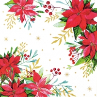 Servietten 33x33 cm - Traditional Poinsettia white