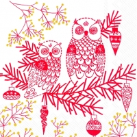 Cocktail Servietten OWL ORNAMENT white red