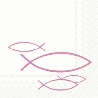 Servietten 25x25 cm - PEACEFUL FISH pink