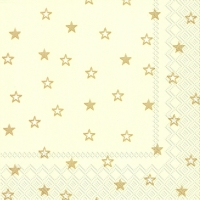 Cocktail Servietten LITTLE STARS cream gold