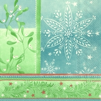 Cocktail Servietten WINTER ORNAMENTS light blue