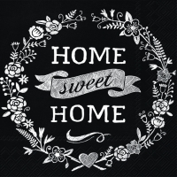 Cocktail Servietten HOME SWEET HOME black