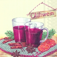 Cocktail Servietten GLÜHWEIN cream