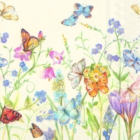 Servietten 25x25 cm - BUTTERFLIES AND BLOSSOMS white