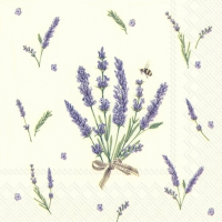 Servietten 25x25 cm - BOUQUET OF LAVENDER cream