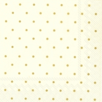 Cocktail Servietten FINE DOTS cream gold