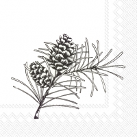Cocktail Servietten PINE BRANCHES white black