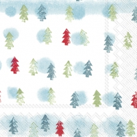 Servietten 25x25 cm - WINTER TREES light blue