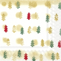 Servietten 25x25 cm - WINTER TREES gold green