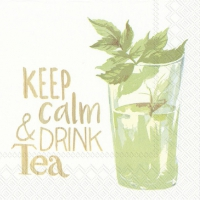 Cocktail Servietten KEEP CALM & DRINK TEA white