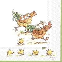 Servietten 25x25 cm - RUN ROOSTER RUN white