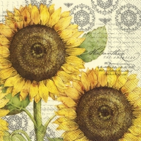 Servietten 25x25 cm - BOTANICAL SUNFLOWER cream