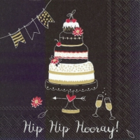 Servietten 25x25 cm - HIP HIP HOORAY black