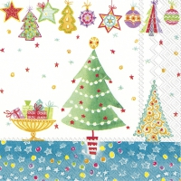 Servietten 25x25 cm - CHEERY CHRISTMAS blue