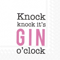 Servietten 25x25 cm - KNOCK KNOCK,IT´S GIN O´CLOCK p