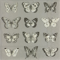 Servietten 25x25 cm - BUTTERFLIES grey