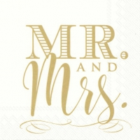 Servietten 25x25 cm - MR. AND MRS. gold