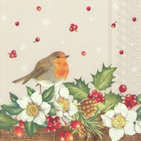 Servietten 25x25 cm - WELCOME RED ROBIN linen