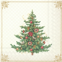 Servietten 25x25 cm - NOSTALGIC CHRISTMAS TREE cream
