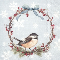 Servietten 25x25 cm - CHICKADEE light blue