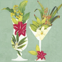 Servietten 25x25 cm - COCKTAILS IN PARADISE mint