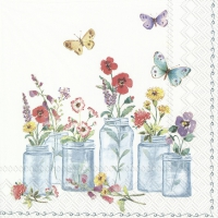 Servietten 25x25 cm - SUMMER JARS white