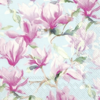 Servietten 25x25 cm - MAGNOLIA POESIE light blue