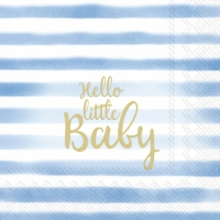 Servietten 25x25 cm - HELLO LITTLE BABY light blue