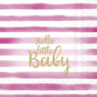 Servietten 25x25 cm - HELLO LITTLE BABY light rose