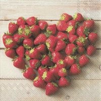 Servietten 25x25 cm - HEART OF STRAWBERRIES