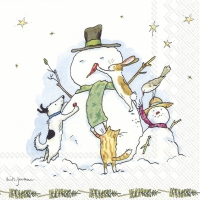 Napkins 25x25 cm - SNOWMAN WITH FRIENDS