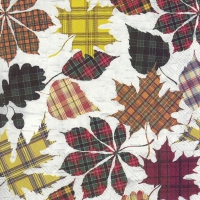 Servietten 25x25 cm - CHECKERED LEAVES