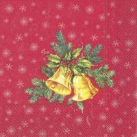 Servietten 25x25 cm - FESTIVE CHRISTMAS BELLS red