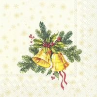 Servietten 25x25 cm - FESTIVE CHRISTMAS BELLS cream