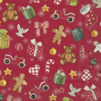 Servietten 25x25 cm - FESTIVE CHRISTMAS TOYS red