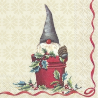 Servietten 25x25 cm - TOMTE IN THE BUCKET cream