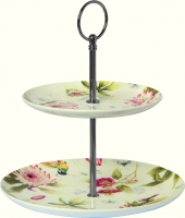 Porzellan Etagere HUMMINGBIRD AND BLOSSOMS cream