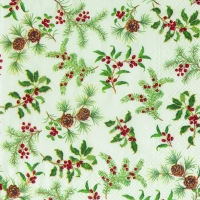 Servietten 33x33 cm - HOLLY BURST cream