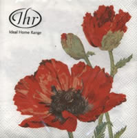 Servietten 33x33 cm - RED POPPY white