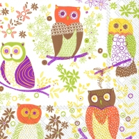 Lunch Servietten JOLLY OWLS light brown